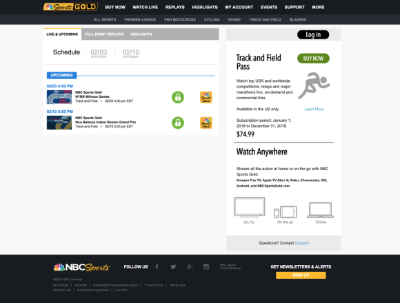 NBC Sports Gold Schedule Page